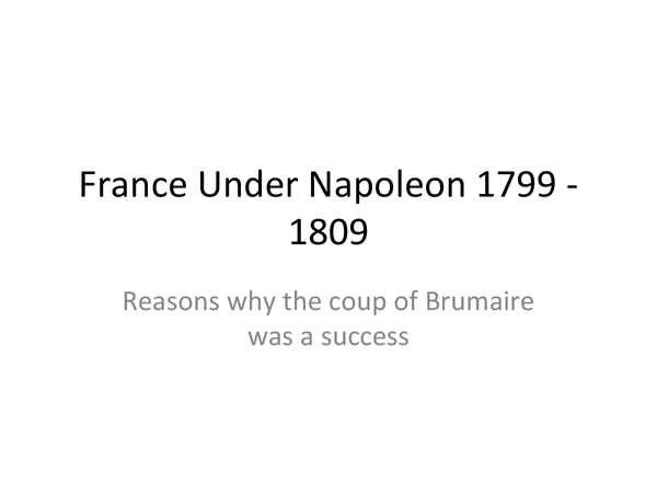 Preview of FRANCE UNDER NAPOLEON 1799 ONWARDS
