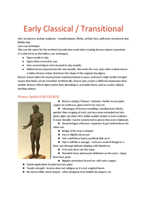 Preview of Free Standing Early Classical Sculpture notes
