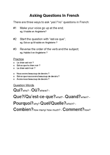 Preview of French Grammar: Asking Questions