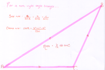 Preview of FSMQ - sin, cos and area rules for non-right angled triangles