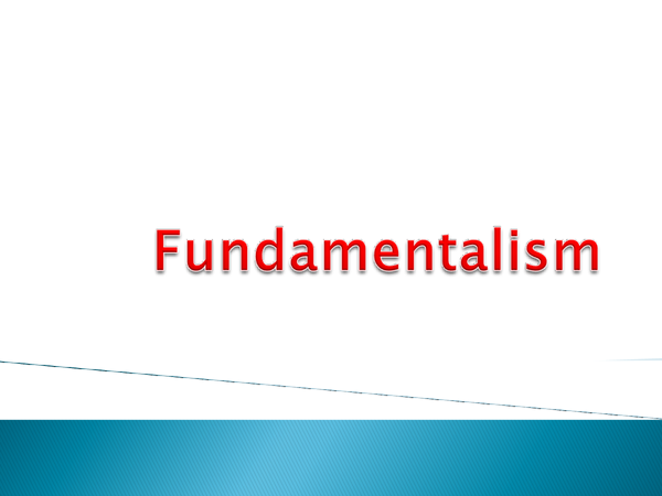 Preview of Fudamentalism Powerpoint