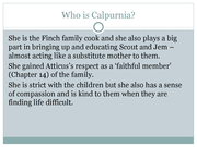 calpurnia character analysis The evolution of calpurnia tate summary & study guide includes detailed chapter summaries and analysis, quotes, character descriptions, themes, and more.