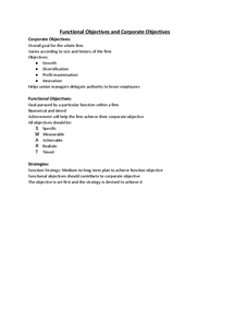 Preview of Functional and Corporate Objectives; Unit 3 - Notes