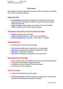 Preview of Functionalism - Families & Households revision