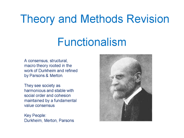 Preview of Theory & Methods: Functionalism Revision