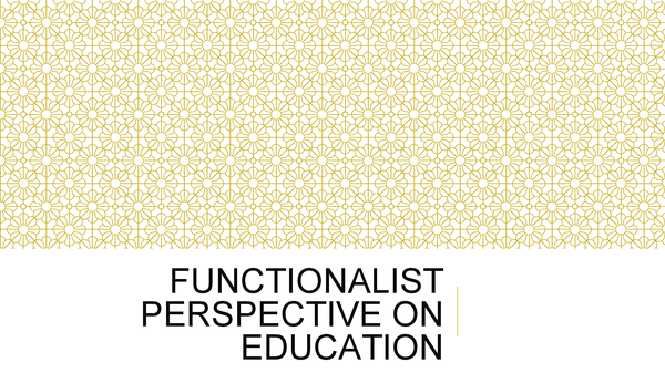 Preview of Functionalist Perspective on Education