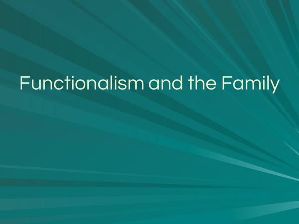 Preview of Functionlism and the Family