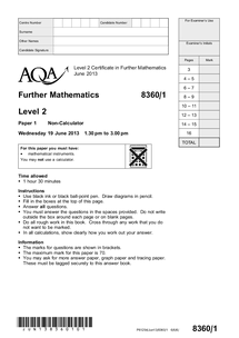 Preview of Further Maths Past Paper Jun 2013