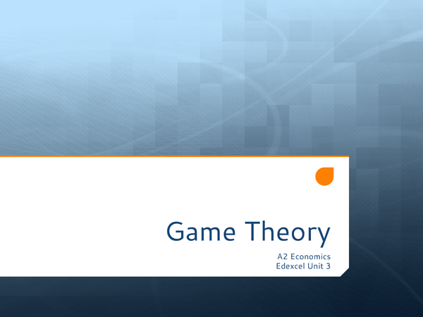 Preview of Game Theory