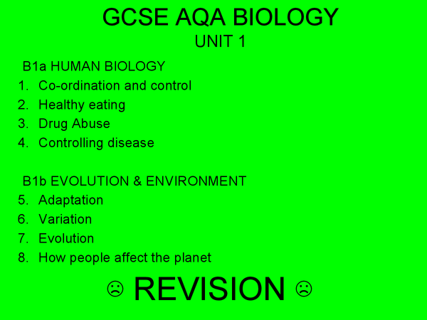 Preview of GCSE AQA BIOLOGY B1