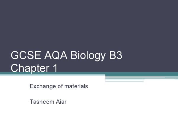 Preview of GCSE AQA Biology chapter 1 B3