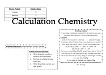 Preview of GCSE AQA Calculation Chemistry Formulas sheet