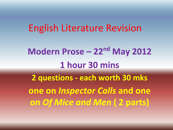 Preview of GCSE AQA English Lit. Paper 1