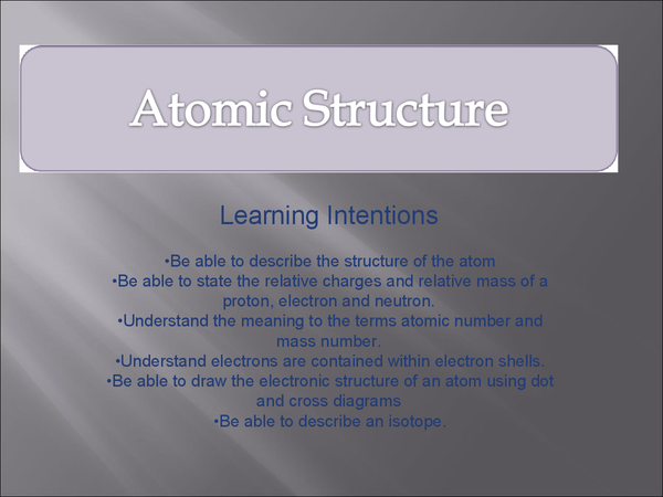 Preview of GCSE atomic structure