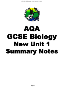 Preview of GCSE BIOLOGY UNIT 1 SUMMARY NOTES