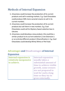 Preview of GCSE Business - Methods of Internal Expansion