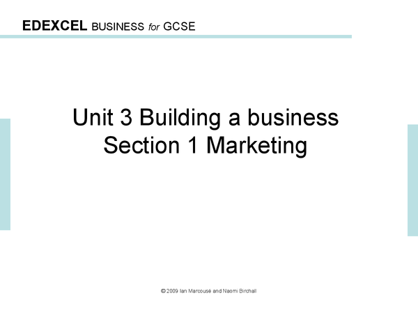 Preview of GCSE Business Studies- Marketing