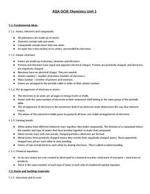 Preview of GCSE Chemistry Unit 1 Key Points