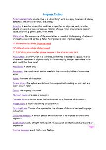 Preview of GCSE English Language-technical vocab sheet