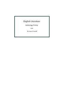 Preview of GCSE English Literature AQA Anthology Poems - Carol Ann Duffy, Simon Armitage and from the Pre-1914 Poetry Bank - Revision Guide
