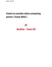 Preview of GCSE English Literature - Points to consider when comparing poems and Exam Skills