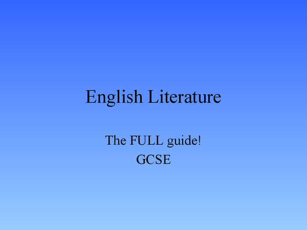 Preview of GCSE English Literature - Specification A, Section A (Short Stories)