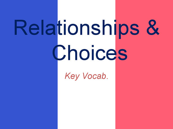 Preview of GCSE French: Relationships & Choices