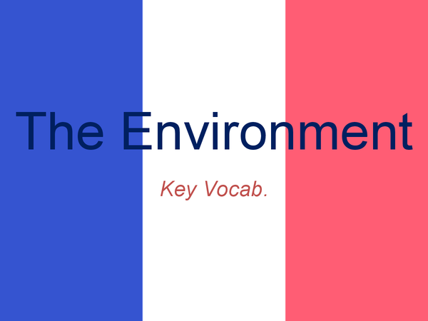 Preview of GCSE French: The Environment