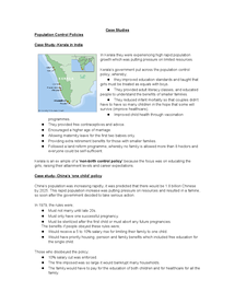 Preview of GCSE Geography case studies for population control
