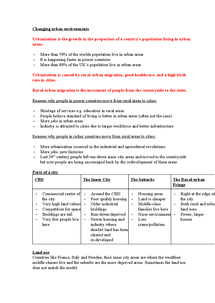 Preview of GCSE Geography - Changing Urban Environments Revision Pack