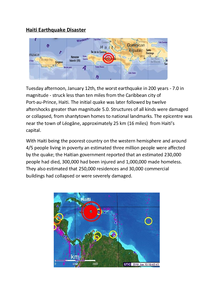 Preview of GCSE Geography Earthquake Studies, Haiti, Kobe Japan