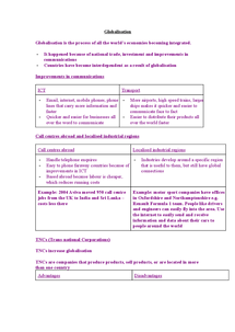 Preview of GCSE Geography - Globalisation Revision Notes