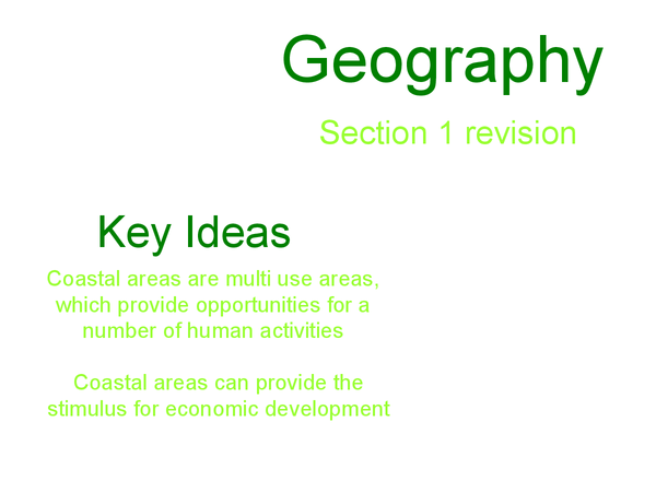 Preview of GCSE Geography Module 1 (coasts) revision