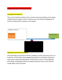 Preview of GCSE Geography Revision Notes (Paper 2) - SHOULD HAVE ALL YOU NEED!