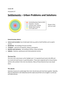 Preview of GCSE Geography Settlements, Urban Problems and Solutions