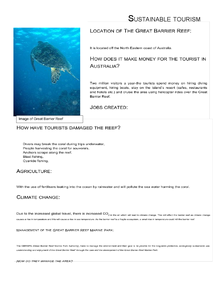 Preview of GCSE Geography sustainable tourism (Great Barrier Reef, Australia)