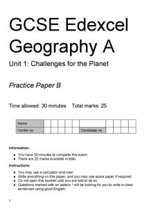 Preview of GCSE Geography Unit 1 - Challenges for the Planet Practice Exam B