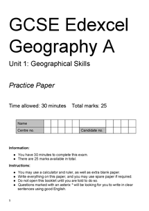 Preview of GCSE Geography Unit 1 - Geographical Skills Practice Exam