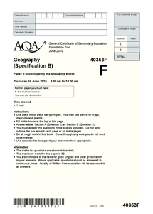 Preview of GCSE geography unit 3 foundation