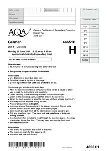 Preview of GCSE German Listening  Paper (Higher Tier) - June 2011
