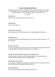 Preview of GCSE German Speaking Exam Questions/Answers