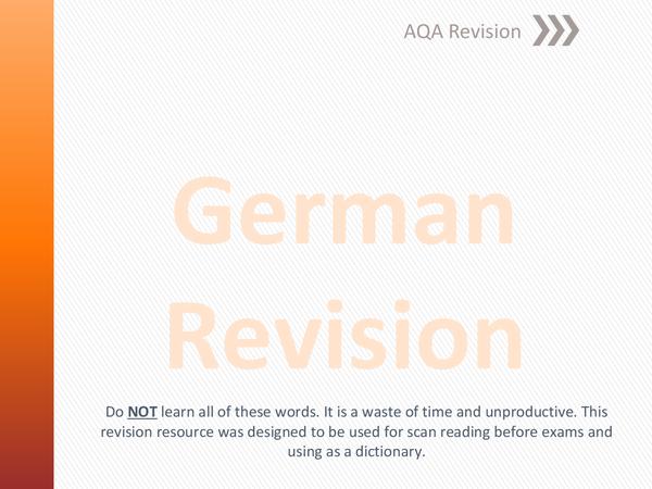 Preview of GCSE German Vocab [AQA]