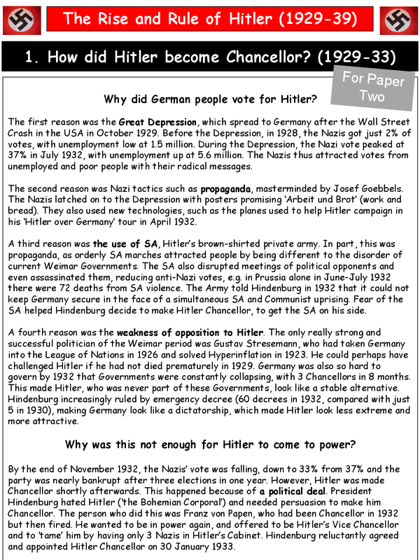 Preview of GCSE History AQA Germany 1929-33 Paper 2