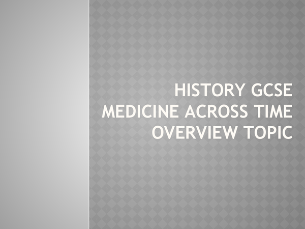 Preview of GCSE History Medicine Through/Across Time overview