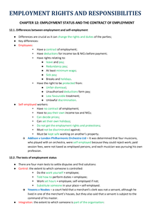 Preview of GCSE Law - Employment Rights and Responsibilities - Chapter 12