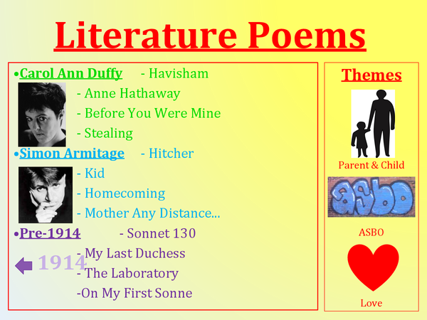 Preview of GCSE Literature Poems Revision
