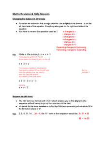 Preview of GCSE Mathematics Sequences & Rearranging Formula -- Units 2&3