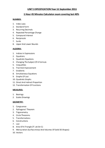 Preview of GCSE Mathematics - Unit 3 Topic List/Specification