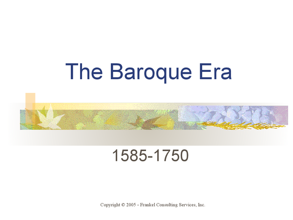 Preview of GCSE Music: The Baroque Era