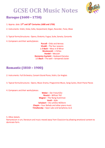 Preview of GCSE OCR Music - New Syllabus (2010)